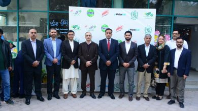 Fahad Ashraf, Chief Executive Reckitt Beckiser along with Malik Amin Aslam and Hasan Nasir Jamy of MOCC at the MOU signing ceremony of Clean Green Pakistan partnership